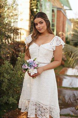Vestido ombro a ombro lady lake em renda, para casamento civil ou casamento religioso