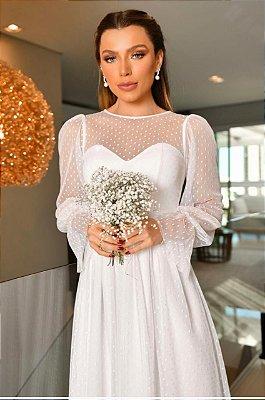Vestido midi lady like em tule de poá para casamento civil e religioso