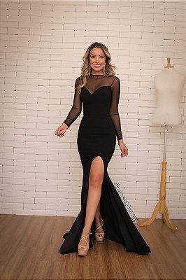 Vestido longo, modelagem sereia, mangas em tule, para casamentos e festas