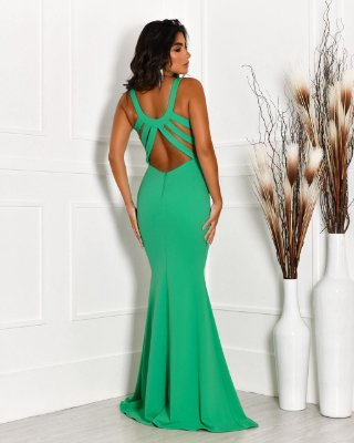 Vestido longo, modelagem sereia, decote nas costas com tiras, para casamento, madrinhas de casamento