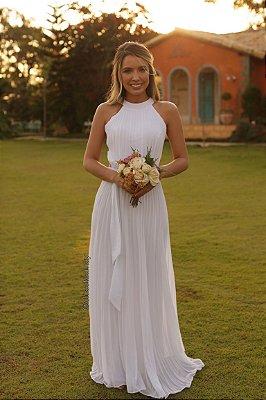 Vestido longo, gola alta, tule lateral, plissado , para casamento civil e casamento religioso