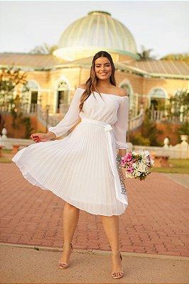 Vestido midi ombro a ombro , saia plissada, manga longa, casamento civil e casamento religioso