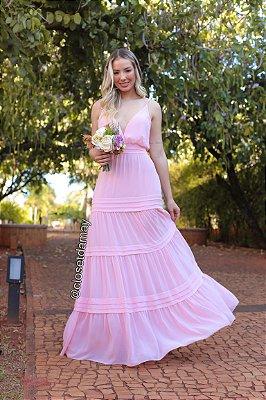 Vestido longo com alças e babados na saia, para madrinhas de casamento e convidadas