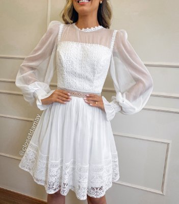 Vestido midi, manga longa em , para casamento civil e noivado