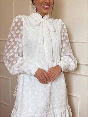 Vestido midi , manga longa e laço na gola, para casamento civil e noivado