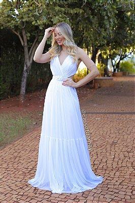 Vestido longo com cinto em macrame para pre wedding casamento na praia