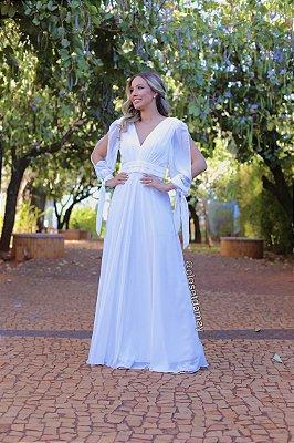 Vestido longo, mangas abertas e laço no punho, para casamento civil e religioso