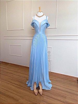 Vestido longo, saia plissada decote princesa com tule e alças , para casamento e madrinha de casamento