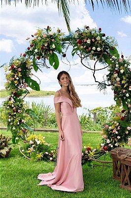 Vestido longo em crepe decote ombro a ombro com alças, para casamento e madrinha de casamento