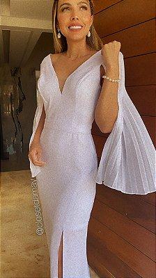 Vestido de noiva longo com manga plissada, para casamento civil e  casamento religioso
