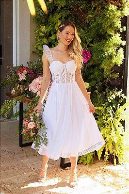 Vestido de noiva, midi, bojo meia taça, modelo corselet com renda, alcinha delicada, saia fluida