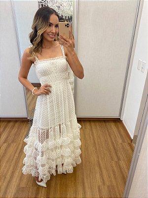 vestido de casamento longo, alça, tule de poa e babado, para noivado e jantar de noivado