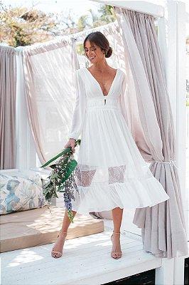 Vestido Mirian midi, manga longa, detalhes em renda, para casamento civil, batizado e noivado