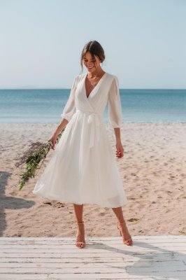 Vestido midi, manga longa, para casamento civil, batizado e noivado