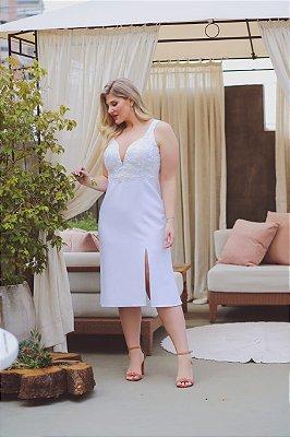 vestido branco midi top de renda plus size com fenda