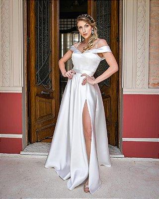 DUPLICADO - Vestido longo fenda e brilho, mangas suspensas, casamento civil casamento religioso