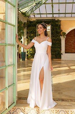 Vestido longo fenda, ombro a ombro, casamento civil casamento religioso