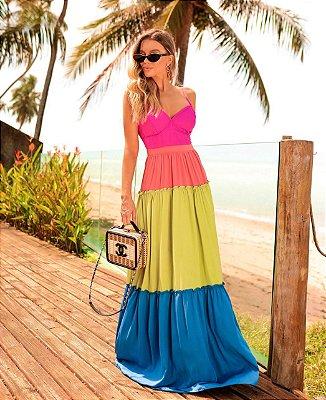 vestido multicolor candy color