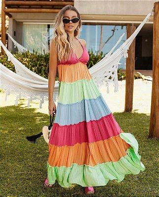 vestido longo multicolor helena candy color