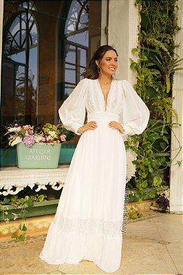 Vestido longo de manga longa em crepe e renda, para casamento civil e casamento religioso