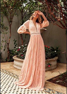 vestido de festa longo, decote em V, renda nas costas, ideal para madrinha, batizados, festa de noivado.