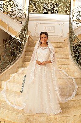 vestido zibeline com renda longo, branco, com busto em tule e bordado, ideal para casamento religioso, casamento civil.