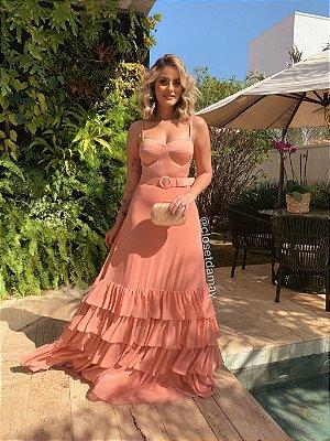 vestido longo de alça com babado e cinto, ideal para festa de formatura, madrinha de casamento