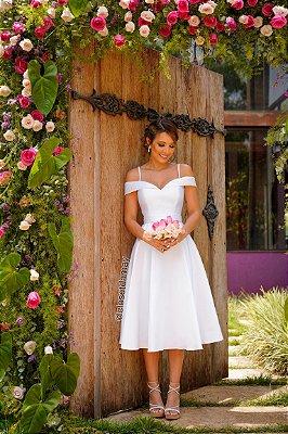 Vestido de noiva, Lady Like, ombro a ombro, de alça e faixa na cintura. Ideal para casamento civil, casamento religioso