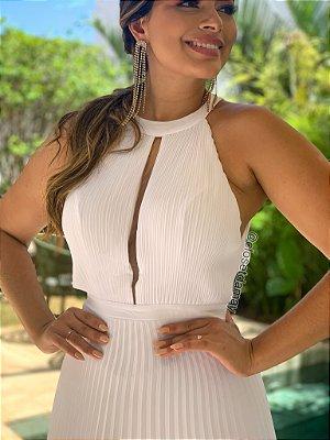 vestido de noiva de gola alta com saia plissada, ideal para casamento civil, casamento intimista