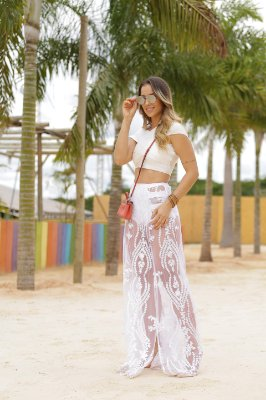 Cropped cruzado de bandagem off white