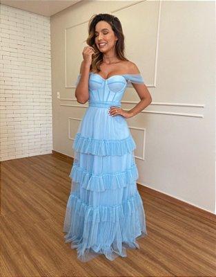 Vestido de festa longo, corselet, bojo estruturado, com alças e babados