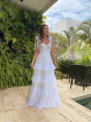 Vestido de noiva longo, corselet, bojo estruturado, com alças para amarrar e babados