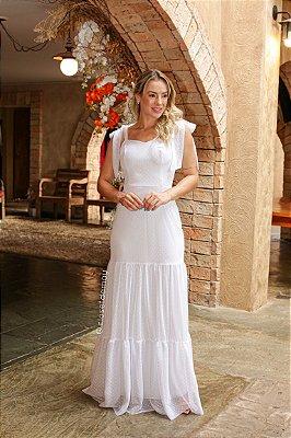 Vestido de noiva longo em tule de poá com alças em laço e saia em camadas, para casamento intimista