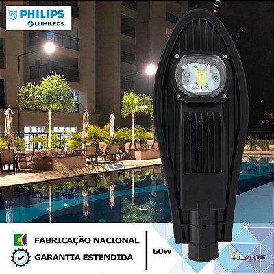 Luminária LED para poste 60w | 7.200 Lúmens | LEDs PHILIPS | Para Rua ou Condomínio