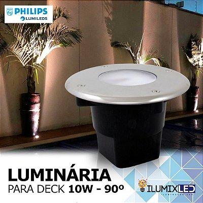 LUMINÁRIA LED DECK 10w | Para Embutir | INOX | Foco 90º | Resistente à água IP65 | LED PHILIPS