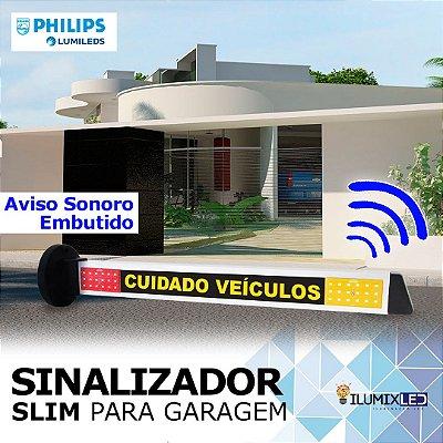 Sinalizador LED Para Garagem | Modelo SLIM | AVISO SONORO| Resistente à Água IP65 | LEDS PHILIPS