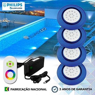76 - KIT ILUMINAÇÃO DE PISCINA 18w | 12,5 cm | RGB Sistema Colorido | 4 Luminárias | LED PHILIPS