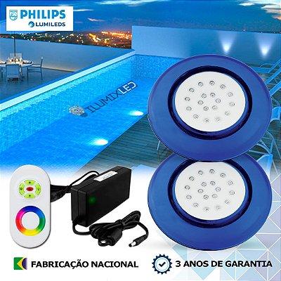 74 - KIT ILUMINAÇÃO DE PISCINA 18w | 12,5cm | RGB Sistema Colorido | 2 Luminárias | LED CHIP PHILIPS