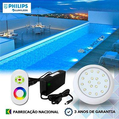 57 - KIT ILUMINAÇÃO DE PISCINA 18w | 8 cm | RGB Sistema Colorido | 1 Luminária | LED PHILIPS