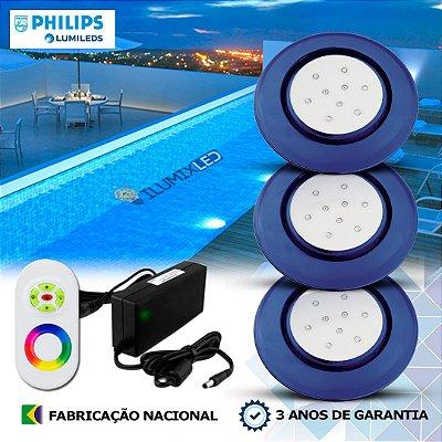 67 - KIT ILUMINAÇÃO DE PISCINA 9w | 12,5 cm | RGB Sistema Colorido | 3 Luminárias | LED CHIP PHILIPS