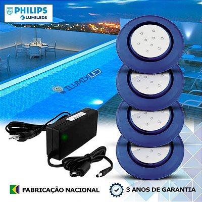 44 - KIT ILUMINAÇÃO DE PISCINA 9w | 12,5 cm | COR FIXA | 4 Luminárias | LED PHILIPS