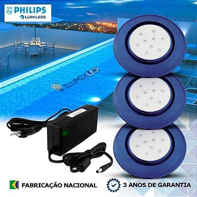 43 - KIT ILUMINAÇÃO DE PISCINA 9w | 12,5 cm | COR FIXA | 3 Luminárias | LED PHILIPS