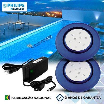 42 - KIT ILUMINAÇÃO DE PISCINA 9w | 12,5 cm | COR FIXA | 2 Luminárias | LED PHILIPS