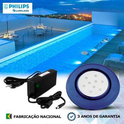 41 - KIT ILUMINAÇÃO DE PISCINA 9w | 12,5 cm | COR FIXA | 1 Luminária | LED PHILIPS