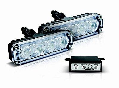 Kit Farol LED Slim 4w - 12v - Com Controle - Branco Frio
