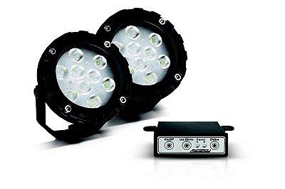Kit Farol Power LED 9w - 12v - Direcionável - Branco Frio