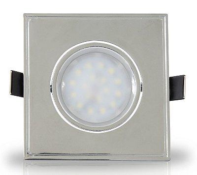 Spot para embutir com Dicróica LED 4w | Bivolt | Quadrado 90x90mm | Uso Interno