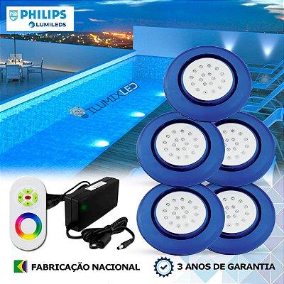 78 - KIT ILUMINAÇÃO DE PISCINA 18w | 12,5 cm | RGB Sistema Colorido | 5 Luminárias | LED PHILIPS