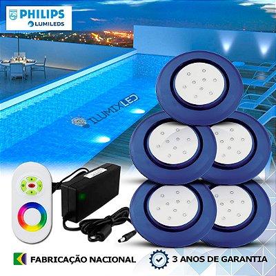 69 - KIT ILUMINAÇÃO DE PISCINA 9w | 12,5 cm | RGB Sistema Colorido | 5 Luminárias | LED PHILIPS