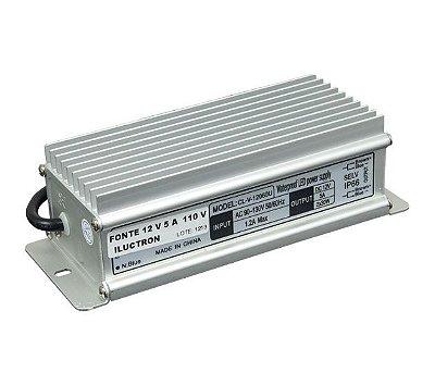 FONTE 12V | Bivolt | 5,0 AMP | IP65 | BLINDADA | USO EXTERNO